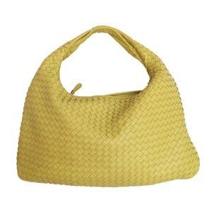 Large Intrcciato Duchess Yellow Leather Hobo Bag